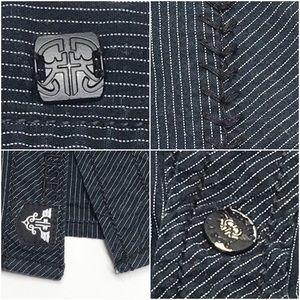 Roar Shirts - ۥ ROAR Buckle Pinstriped Embroidered Shirt O28